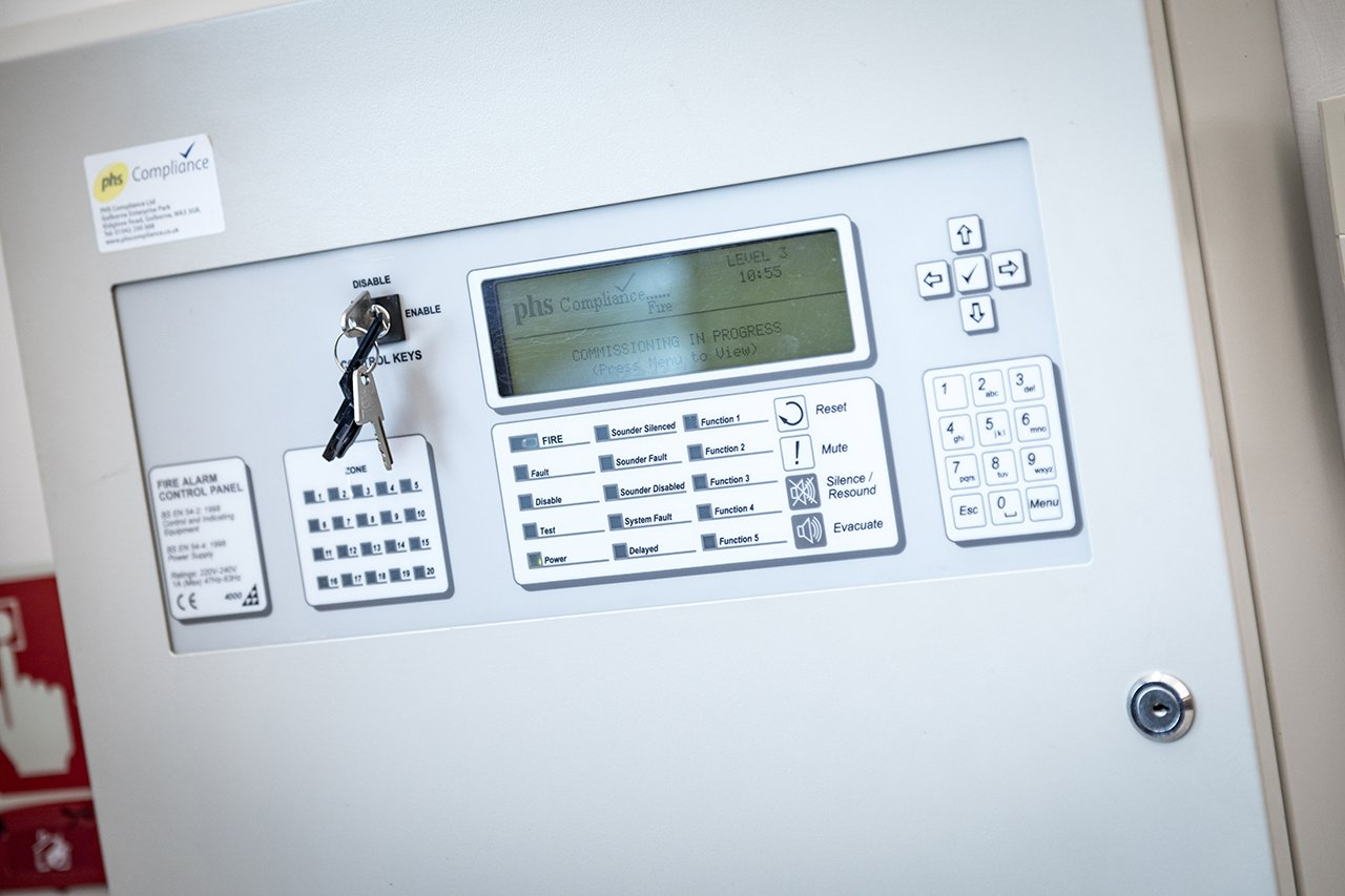 fire alarm system panel awaiting annual statutory inspection by phs Compliance